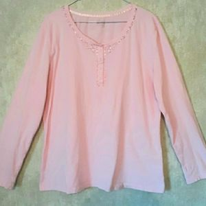 Pink long sleeve top blouse with sequins size XL